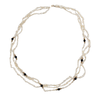 Pearl, Obsidian & 14K Gold Bead Necklace