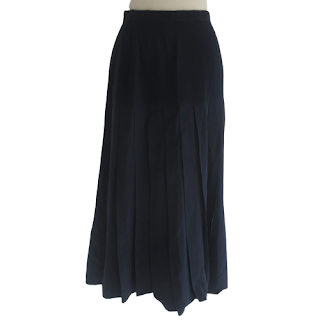 Chanel Boutique Navy Pleated Skirt