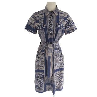 Etro Blue Patterned Belted Dress