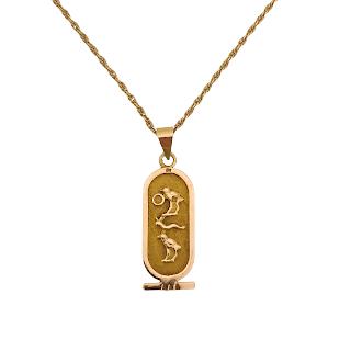 14K Gold Cartouche Pendant Necklace