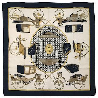 Hermès 'Les Voitures a Transformation' Silk Scarf 90