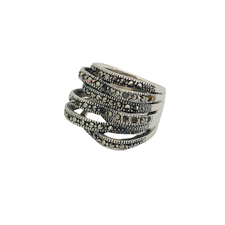 Sterling Silver and Marcasite Cocktail Ring