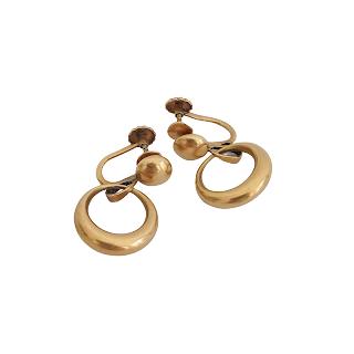 14K Gold Hoop Pendant DAMAGED Earrings