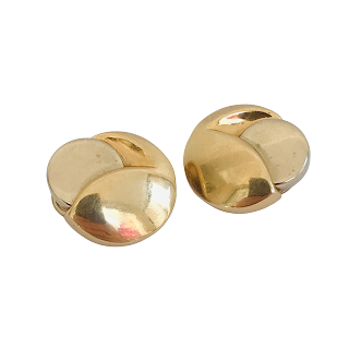 14K Yellow and White Gold Modernist Clip Earrings
