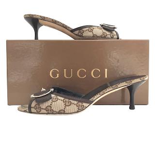 Gucci Monogram Canvas Mules