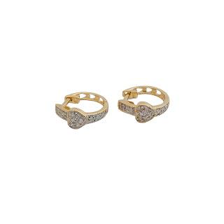 14K Gold and Diamond Heart Hoop Earrings