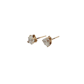 10K Gold and CZ Stud Earrings