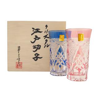 Kigami new Crystal Edo Kiriko Slim Glass Pair