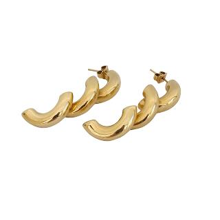 14K Gold Triple Arc Earrings