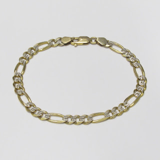 14K Yellow & Etched White Gold Chain Bracelet