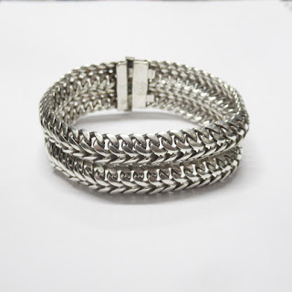 Sterling Silver Mexican Linked Chain Bracelet