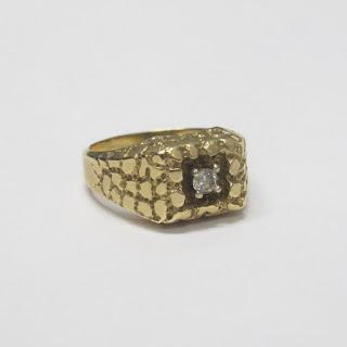 14K Gold & Diamond Etched Cobblestone Ring