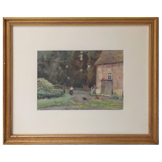 E.M. Cox Signed Pastoral Watercolor Painting
