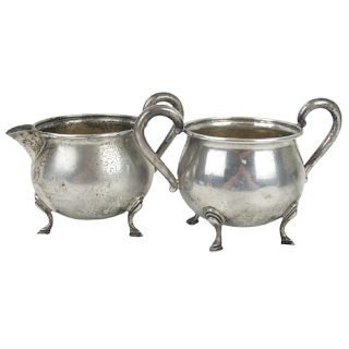Sterling Silver Creamer & Sugar Bowl