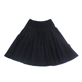 Prada Pleated Black & Blue Striped Skirt