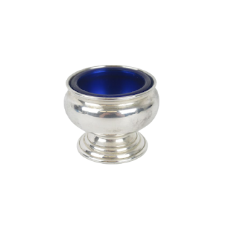 Empire Sterling Silver & Blue Glass Candle Holder