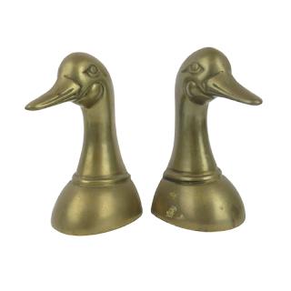 Brass Duck Bookends Pair
