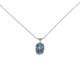 14K Gold & Blue Stone & Diamond Pendant