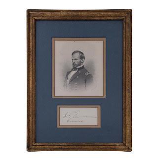 General William Tecumseh Sherman Signature and Etching