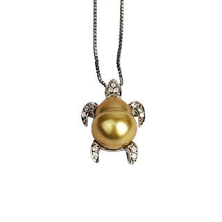 Sterling Silver Pearl & Diamond  Turtle Pendant
