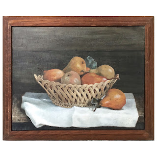 Still Life with Pears Signed OilPainting
