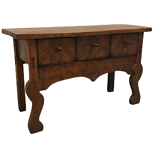 Primitive Hand-Carved Entry Table