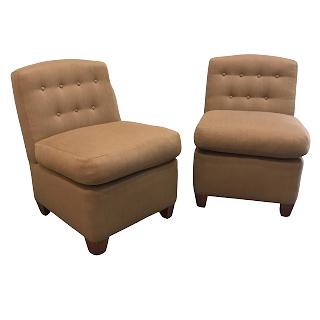 Diminutive Tufted Wool Slipper Chair Pair