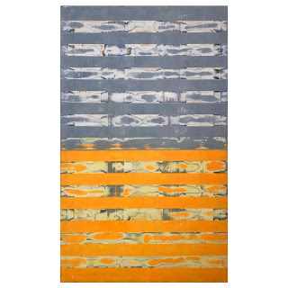Gregory Hilton Large Scale Painting in Gray & Orange