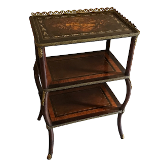 Marquetry & Mother of Pearl Inlaid Ormolu Mounted Tiered End Table