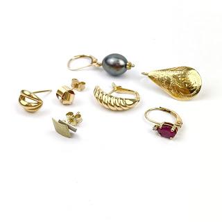 14K Gold Single Earring Lot