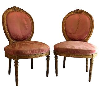Louis XVI Gilt Oval-Back Side Chair Pair