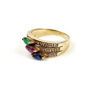14K Gold, Multi-Color Stone & Diamond Ring