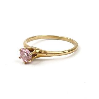 14K Gold & Pink Stone Ring