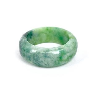 Jade Marbled Dark Green Ring