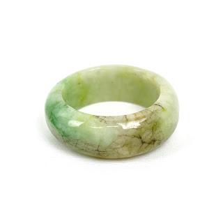 Jade Marbled Light Green & Brown Ring