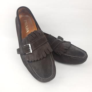 Prada Brown Suede Kiltie Loafers