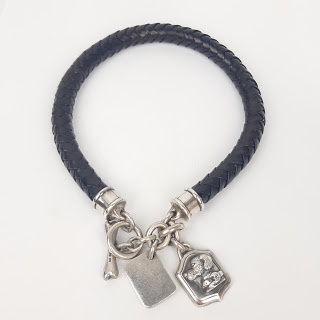 Barry Kieselstein Cord Sterling Silver & Leather Dog Collar