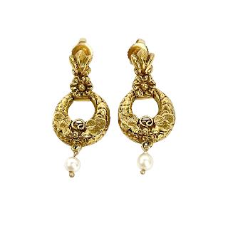 14K Gold & Pearl Wreath Earrings