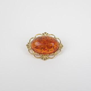 14K Gold and Amber Brooch