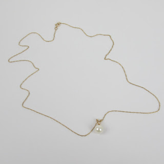 14K Gold, Diamond, and Pearl Pendant Necklace