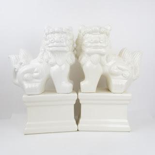 Ceramic Foo Dog Pair