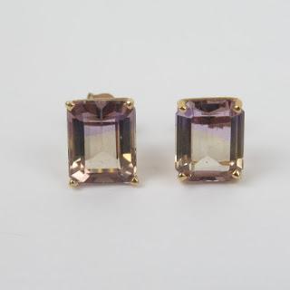 14K Gold and Ametrine Earrings