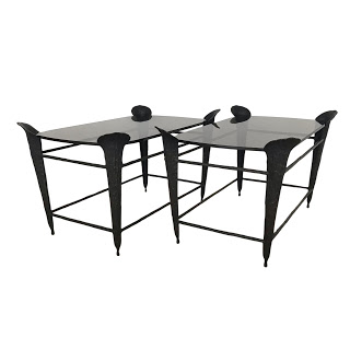 Modern Bronze Side Table Pair