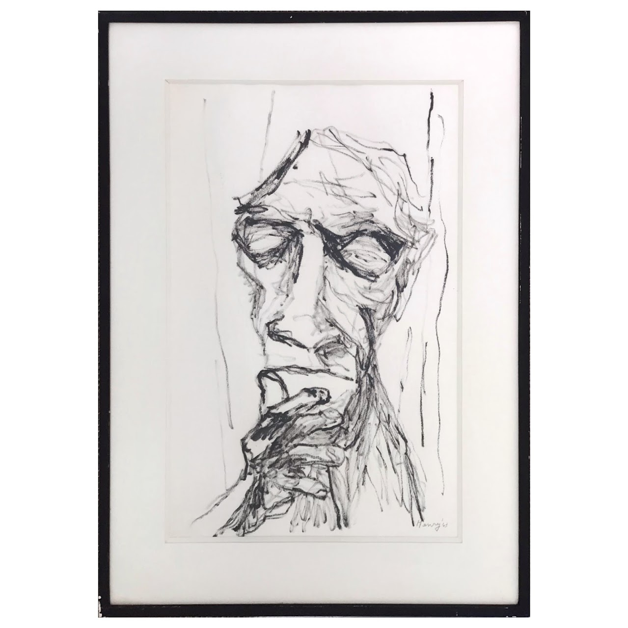 Expressionist Signed Charcoal Portrait Drawing