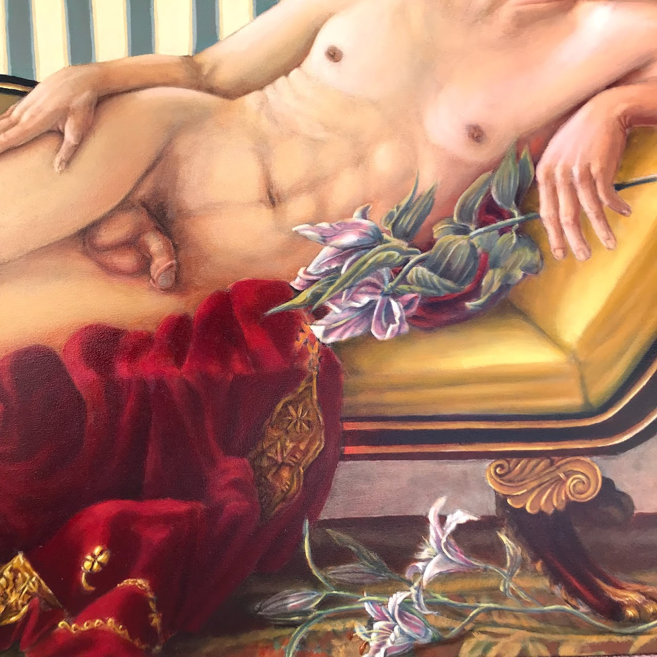 Gary Horn Signed Nude Oil Portrait Painting
