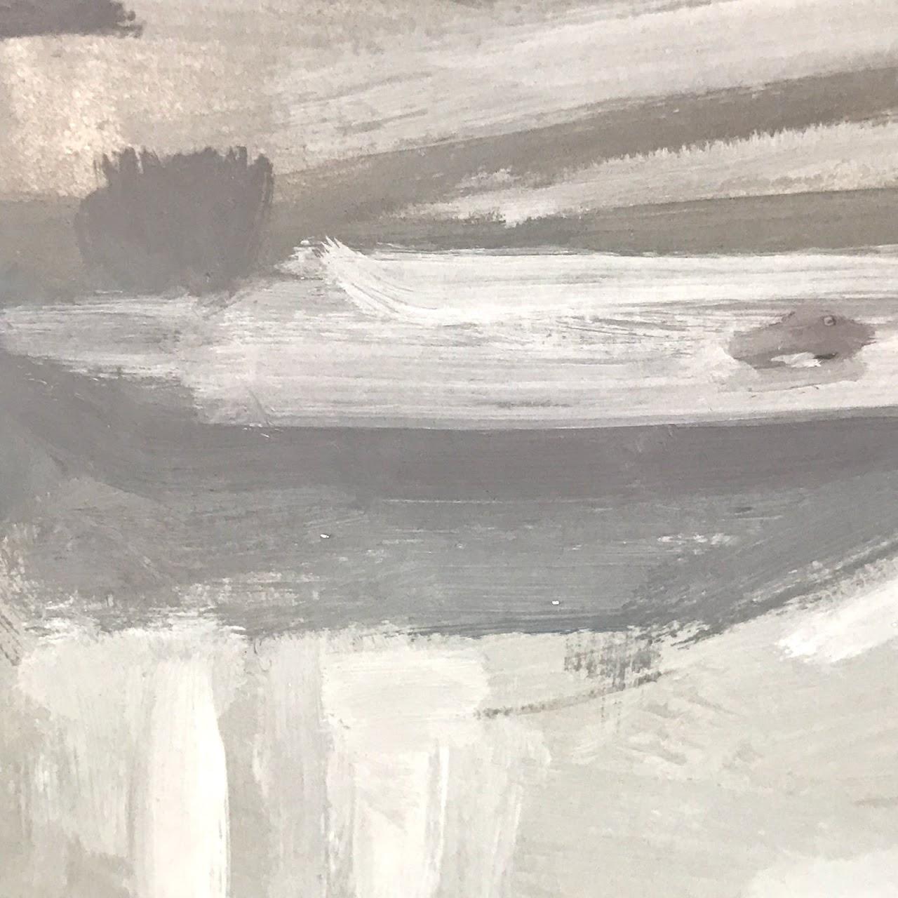 Modernist Gouache Landscape Painting