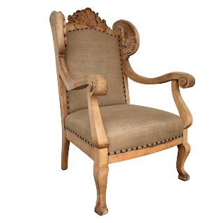 Carved Refinished Antique Wing Chair