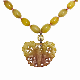 Yellow Jade Butterfly Necklace