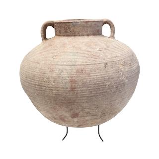 Antique Etruscan Ridged Round Clay Pot