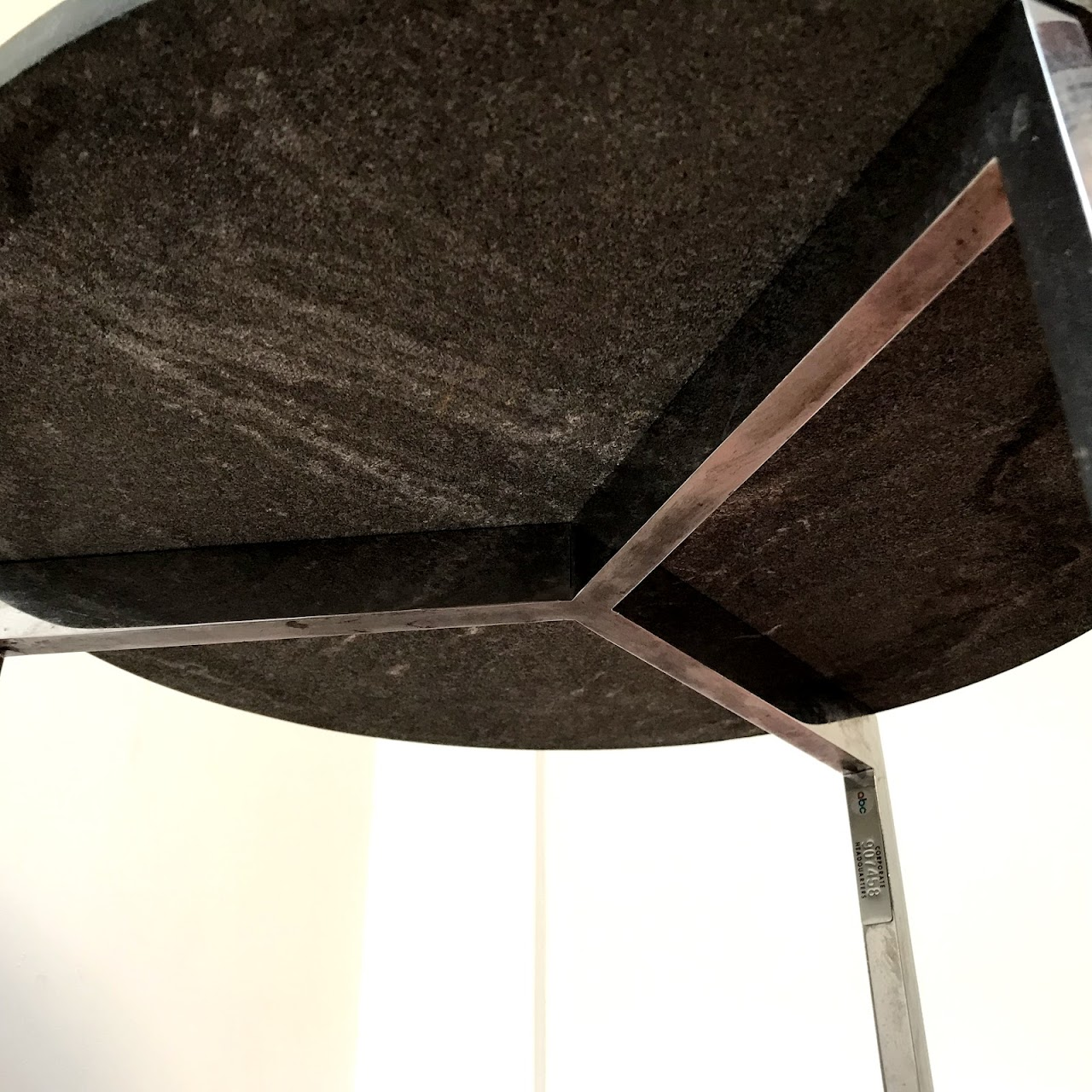 Black Granite & Chrome Accent Table
